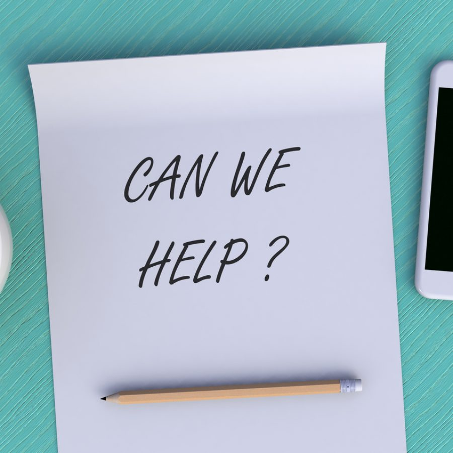 CAN WE HELP, message on paper, smart phone and coffee on table, 3D rendering